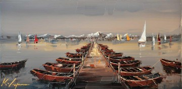 Impressionism Painting - boats at trestle KG by knife
