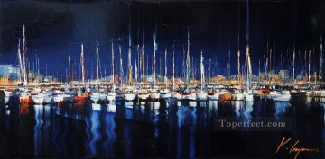 Impressionism Painting - boats in wharf blue KG by knife