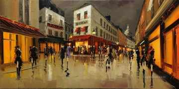 KG Montmarte Reflections with palette knife Oil Paintings