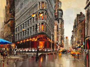 knife Art Painting - New York KG with palette knife