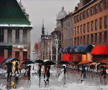 Vieux Montreal Winter Ambiance II KG by knife Oil Paintings