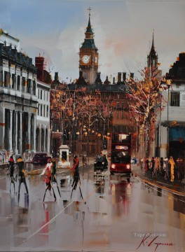 By Palette Knife Painting - Whitehall London II KG by knife