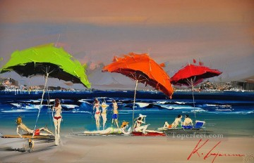 beauties under umbrellas at beach KG by knife Oil Paintings