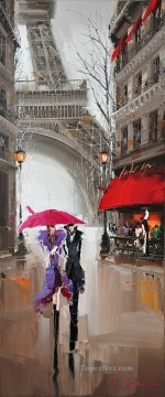 couple under umbrella Effel Tower KG by knife Oil Paintings