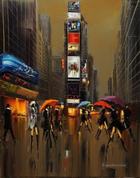 By Palette Knife Painting - KG Umbrellas of New York with palette knife