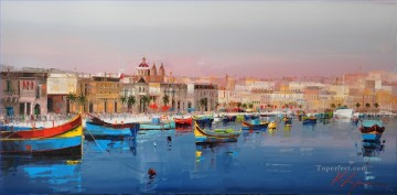 Marsaxlokk Malta KG by knife Oil Paintings