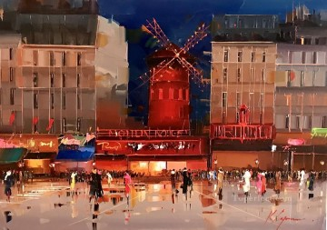 Impressionism Painting - Moulin Rouge at night KG by knife