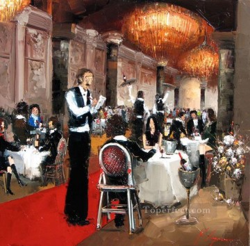 Impressionism Painting - cafe restaurant KG by knife