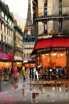 By Palette Knife Painting - cafe under Effel Tower KG by knife