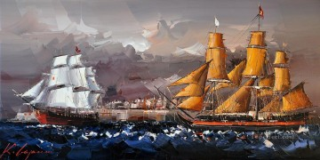 Impressionism Painting - sailing ships KG by knife
