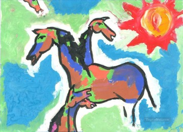 MF Hussain Horses 2 Indian Oil Paintings