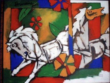 Popular Indian Painting - MF Hussain Horses Indian