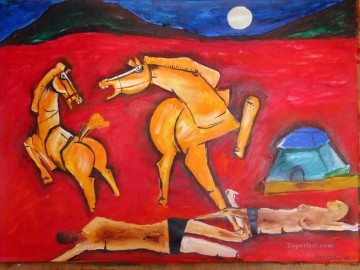 MF Hussain Horses 3 Indian Oil Paintings