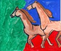 MF Hussain Horses acrylic Indian