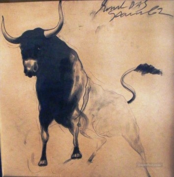 cattle bull cow Painting - Sunil Das Bull Indian