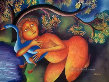 Popular Indian Painting - lady with duck i 2002 Indian