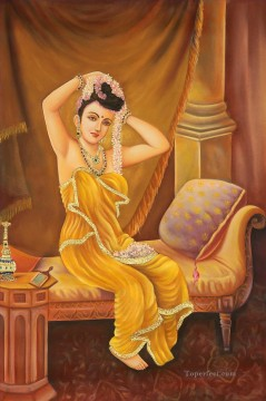 Indian Painting - A Nair Woman Adorns Herself Indian