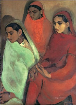 Popular Indian Painting - Amrita Sher Gil Group of Three Girls Indian
