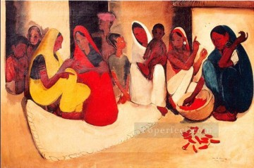Amrita Sher Gil Village scene 1938 Indian Oil Paintings