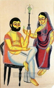 Popular Indian Painting - Elokeshi is Offering Betel Leaf to the Mahant Indian