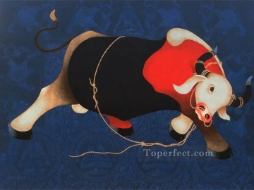 cattle bull cow Painting - Indian bull