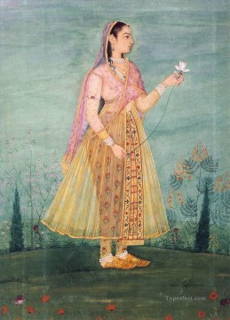 lady - Lady Holding Lotus Small Indian