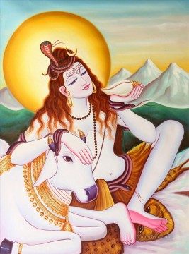 Popular Indian Painting - Lord Shiva Relieving the World of Its Poison Indian