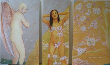 Popular Indian Painting - Self portrait and the cherry blossom Indian