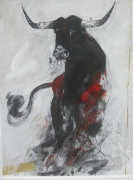 cattle bull cow Painting - Sunil Das Bull 2 Indian