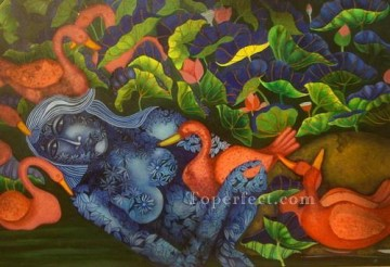 mermaid Painting - mermaid in lotus pond i Indian