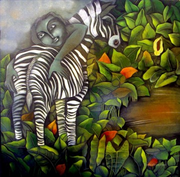 Popular Indian Painting - zebra and a boy Indian