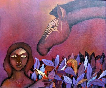 Popular Indian Painting - zebra and lady i India