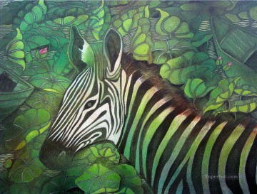Popular Indian Painting - zebra in nature India