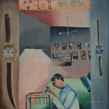 Popular Indian Painting - BK Janata Watch Repairing Indian