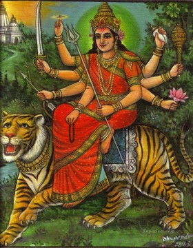 Popular Indian Painting - Durga Ma Devi Hindu Goddess India