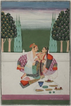 Popular Indian Painting - Folio from a Nayaka Nayika bheda A loving couple partially undresseed drinking wine on a palace terrace India