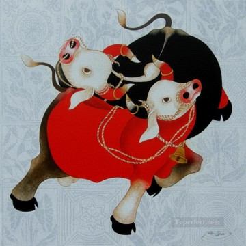 Popular Indian Painting - India cattle