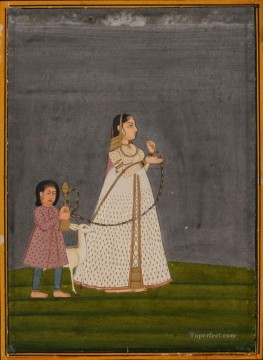 Popular Indian Painting - Lady with huqqa held by child 1800 India