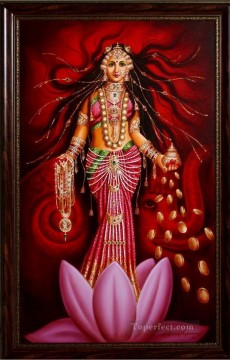 Popular Indian Painting - Lakshmi Goddess of Fortune and Prosperity India