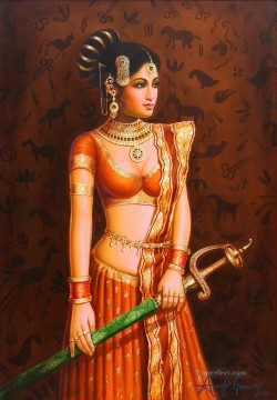 Popular Indian Painting - The Lady with the Sword India