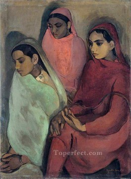 Popular Indian Painting - Three Girls by Amrita Sher Gil 1935 India