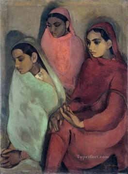 Popular Indian Painting - amrita sher gil three girls 1935 India
