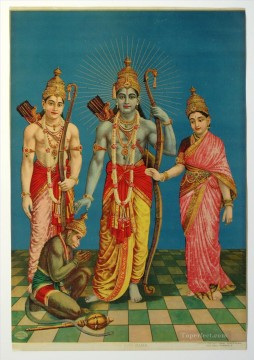 Popular Indian Painting - Ram Laxman Sita and Hanuman from India