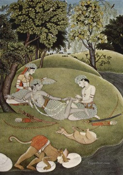 painting Oil Painting - Ram and Sita Kangra Painting 1780 from India