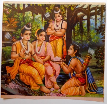 AX Painting - Ram with his Wife Sita and Brothers Laxman and Bharat from India
