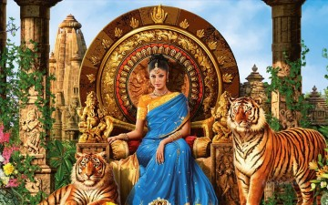 Popular Indian Painting - from India lady and tigers