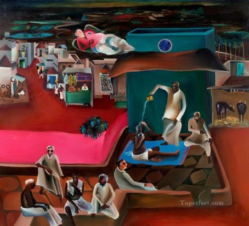 Popular Indian Painting - Bhupen Khakhar Death in the Family from India