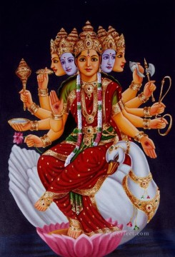 Popular Indian Painting - Goddess Gayatri from India