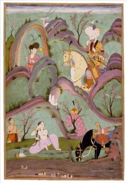 Indian Painting - Khusraw Beholding Shirin Bathing from India