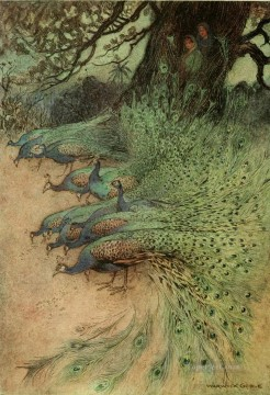 Tales Oil Painting - Warwick Goble Falk Tales of Bengal peacocks from India